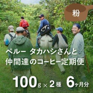 <b>ペルー・高橋さんのコーヒー定期便 【Liteコース】 毎月100g×2種類  6か月分(粉)*特典として豆乃木オリジナルキャニスター付</td></b>