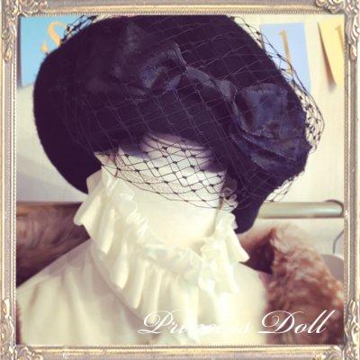 pd8057-2 Ladyベレー帽(Black×Black)