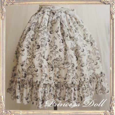 2059-2 ミディチェリラビ Skirt(Milk White地×Black柄)