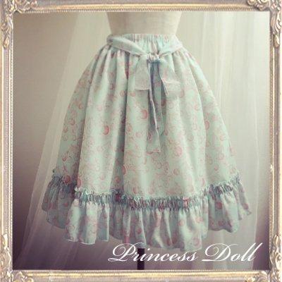 2059-3 ミディチェリラビ Skirt(Mint地×Pink柄)