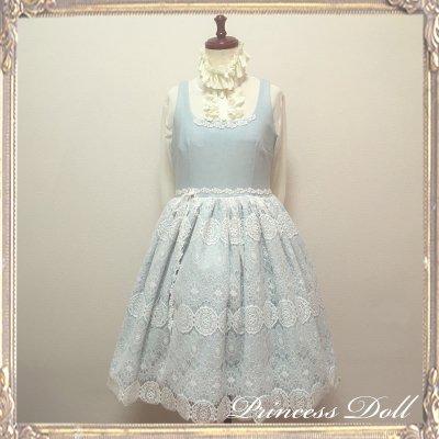 1079 お花のレースジャンパースカート(リボンクリップ付)