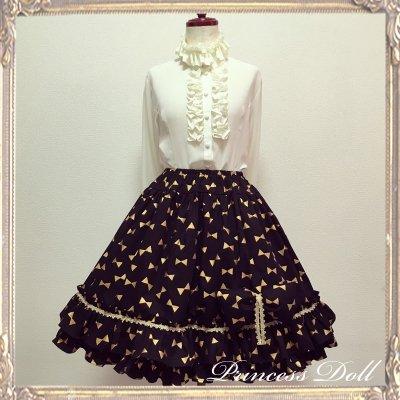 2063-1 煌めくゴールドリボンのスカート(Black)