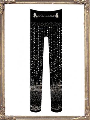 8044-1 わたしにつもる星の夜タイツ(Black)