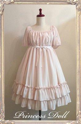 1072-2 Polka dot Baby Doll(Pink×生成りリボン)