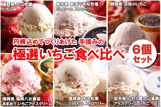 極選 いちごアイス 食べ比べ+アイスクリーム専用スプーン セット(6個+1本)【画像2】