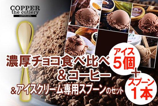 濃厚 チョコアイス 食べ比べ+アイスクリーム専用スプーン セット(5個+1本)