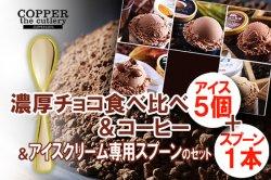 アイス専用スプーンとアイスのセット(ギフト最適) 濃厚 チョコアイス 食べ比べ+アイスクリーム専用スプーン セット(5個+1本)