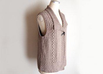 大きめ衿のロングベスト パターン