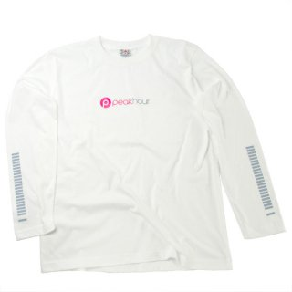 <img class='new_mark_img1' src='https://img.shop-pro.jp/img/new/icons22.gif' style='border:none;display:inline;margin:0px;padding:0px;width:auto;' />'peak hour - beats/neon pink' Long Sleeve T-Shirts [WHITE]