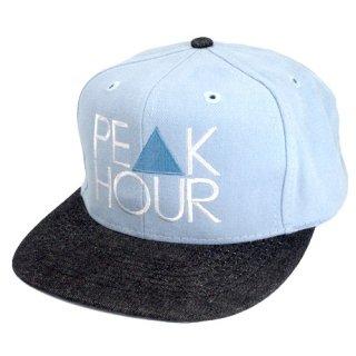 'PE▲K HOUR' Snapback Cap [LIGHT BLUE×BLACK DENIM]