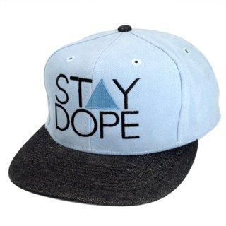 'ST▲Y DOPE' Snapback Cap [LIGHT BLUE×BLACK DENIM]