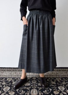 ウールチェックW(ウエスト)ゴムギャザースカート