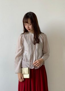 Cotton silk pin tuck blouse