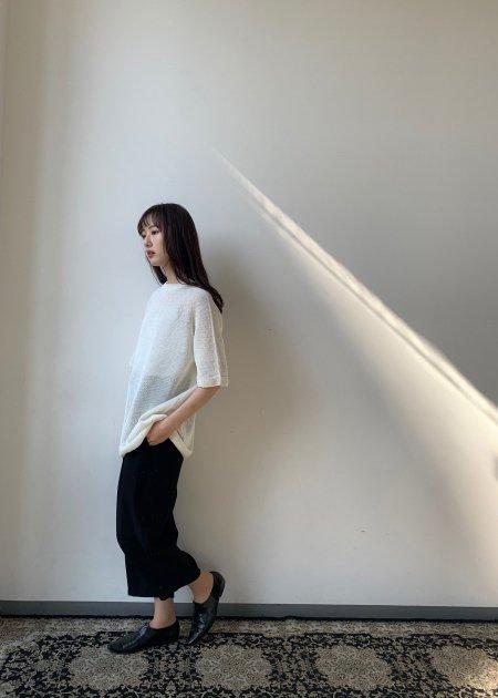 Silk linen whole garment knit T-shirt