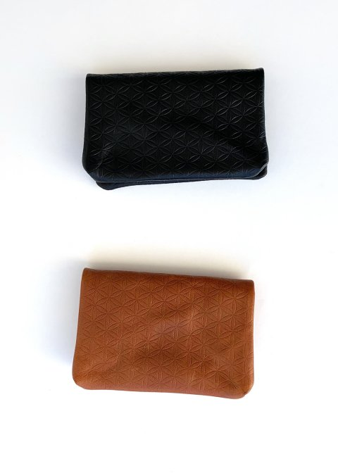 Naturally tanned leather card case (Flower of life)