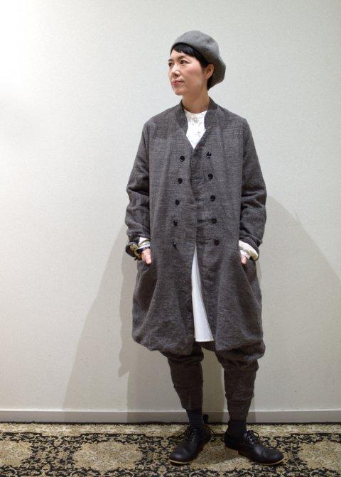 DOLMAN COLLAR DOUBLE COAT(gris acier / graphite)