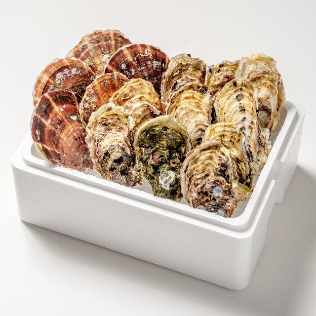 岩手県山田湾産 殻付き牡蠣10コ・帆立5枚セット