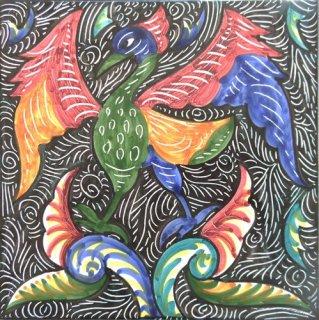 ポルトガルタイル(アズレージョ)カルロストマス【ラト・RATC6】カラー(150×150mm)