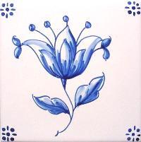 ポルトガルタイル(アズレージョ)【フロール・FLA1】花・青単色