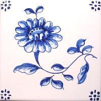 ポルトガルタイル(アズレージョ)【フロール・FLA3】花・青単色