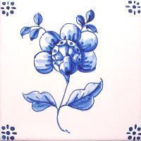 ポルトガルタイル(アズレージョ)【フロール・FLA5】花・青単色