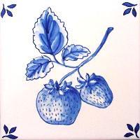 ポルトガルタイル(アズレージョ)【フルータ・FA6】いちご・青単色