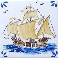 ポルトガルタイル(アズレージョ)【マリティモ・MRC1】帆船・カラー