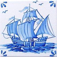 ポルトガルタイル(アズレージョ)【マリティモ・MRA1】帆船・青単色
