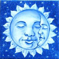 ポルトガルタイル(アズレージョ)【エストレーラ・ESB1】眠る満月・青
