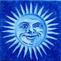 ポルトガルタイル(アズレージョ)【エストレーラ・ESB3】ウィンク太陽・青