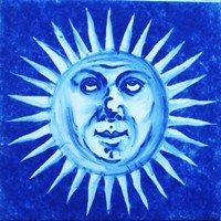 ポルトガルタイル(アズレージョ)【エストレーラ・ESB4】考える太陽・青