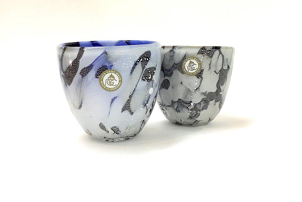 石畳ぐいのみ2個セット(青×茶)