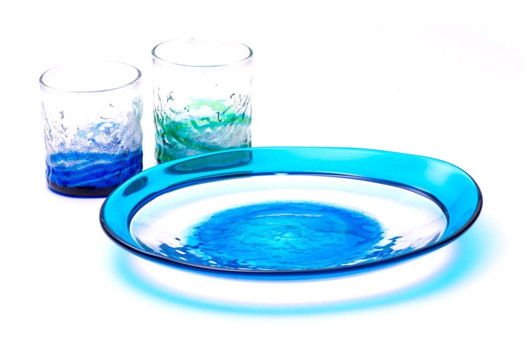 潮騒デコボコグラス&潮騒ふち巻皿セット