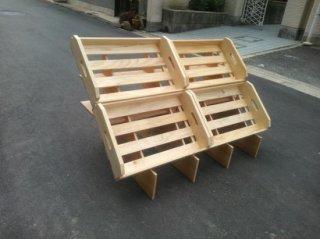 マルシェ用の傾斜台4箱用x1 + 木箱Sx4 セット