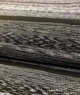 ランダムボーダーちぢみ織りすす竹色