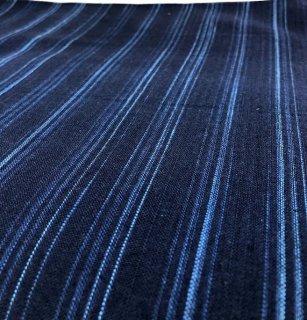 藍ムラ糸段染めストライプ紺