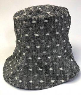 女性帽子 水玉グレー