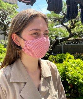 絣マスク(1羽縞ピンク)