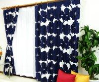 オーダーカーテン 通販 おしゃれな北欧風花柄遮光カーテン ブロムスト ロイヤルネイビー色