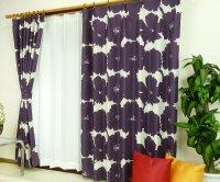 オーダーカーテン 通販 おしゃれな北欧風花柄遮光カーテン ブロムスト プラムパープル色
