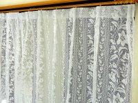 レースカーテン 激安 アウトレット 裾上げ加工のレースカーテン [ルピナス] 花柄 ホワイト色