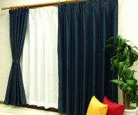 オーダーカーテン 通販 ミラーで太陽光を反射 遮熱遮光カーテン ムース ネイビー色