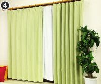 オーダーカーテン 通販 オックスフォード調生地 防炎遮光1級カーテン ロシェル リーフグリーン色