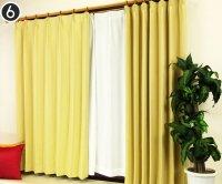 オーダーカーテン 通販 オックスフォード調生地 防炎遮光1級カーテン ロシェル シトロンイエロー色