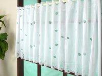 オーダーカフェカーテン通販 キラキラのラメ加工 カワイイリーフ柄 40cm丈 幅41サイズ