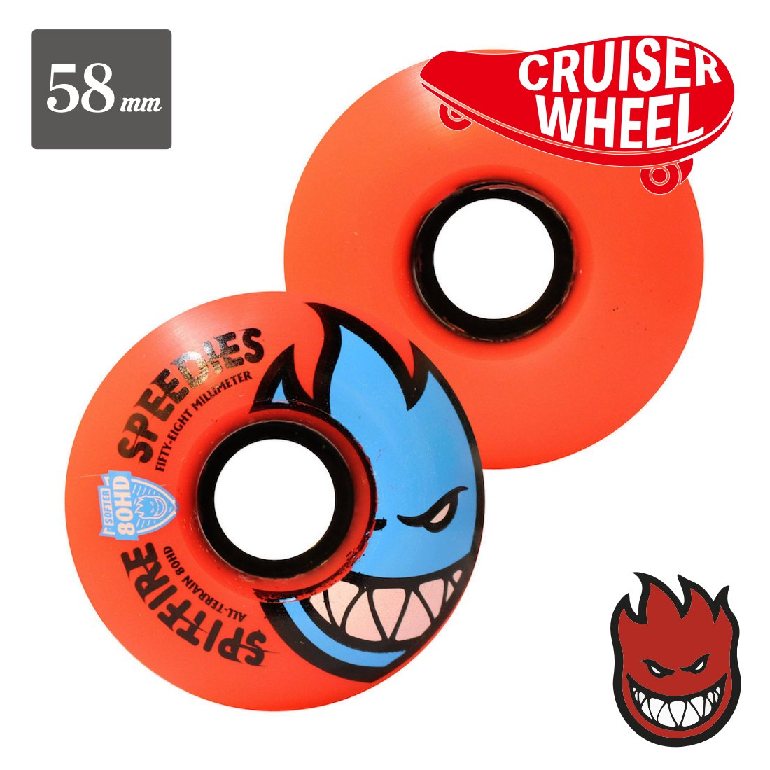 【SPITFIRE WHEEL】80HD Bighead Rocket Red Hots - クルージング用
