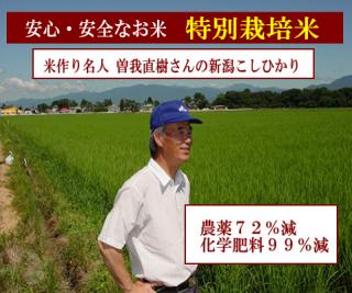 令和二度産 曽我直樹さんの特別栽培米 新潟コシヒカリ( 農薬72%減・化学肥料99%減 ) 1kg