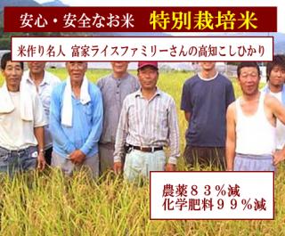 令和二年度産 富家ライスファミリーさんの 特別栽培米 高知コシヒカリ(農薬83%減・化学肥料99%減)1kg