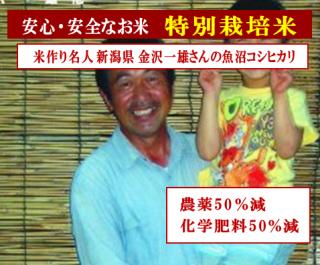 令和二年度産 金沢さんの 特別栽培米 新潟魚沼コシヒカリ(農薬50%減・化学肥料50%減)1kg