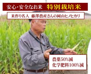 令和二年度産 藤澤農産 特別栽培米 岡山ヒノヒカリ(農薬50%減・化学肥料100%減)1kg
